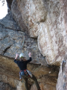 Ashley pops off the crux